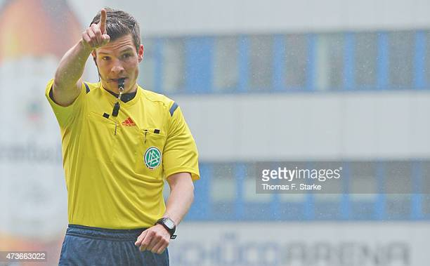 Referee Harm Osmers whistles during the Third League match between Arminia Bielefeld and Jahn Regensburg at Schueco Arena on May 16 2015 in Bielefeld...