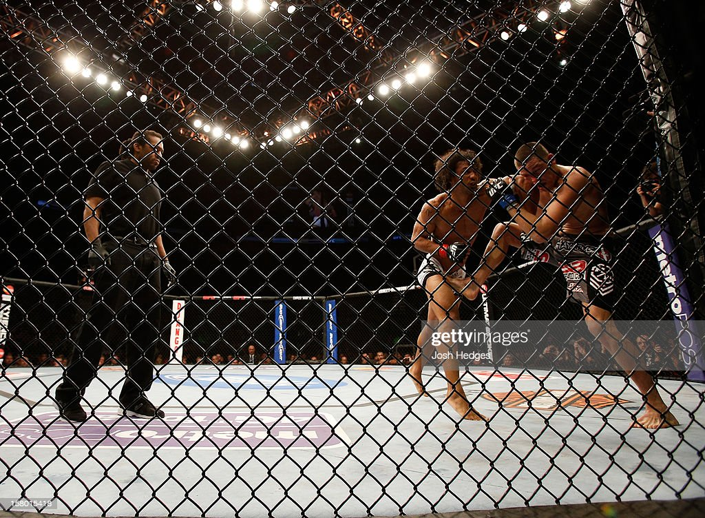 Referee Herb Dean (left) looks on at Benson Henderson punches Nate Diaz during their lightweight championship bout at the UFC on FOX event on December 8, 2012 at Key Arena in Seattle, Washington.