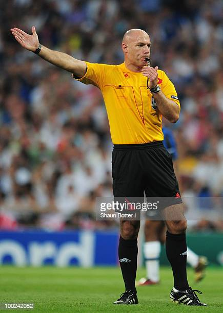 Referee Howard Webb gestures during the UEFA Champions League Final match between FC Bayern Muenchen and Inter Milan at the Estadio Santiago Bernabeu...