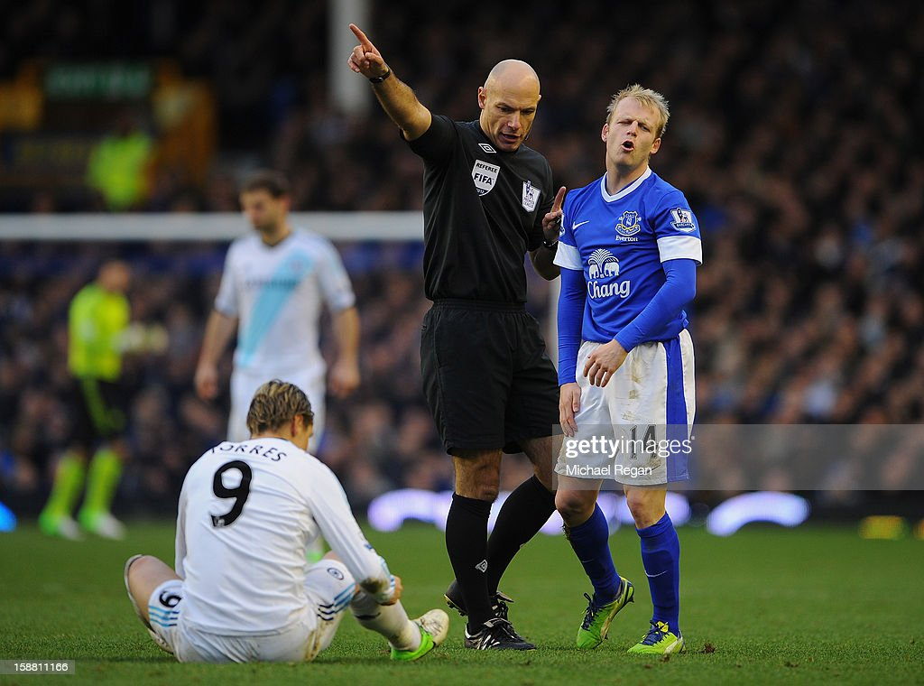 Referee Howard Webb gestures to Steven Naismith of Everton during the Barclays Premier League match between Everton and Chelsea at Goodison Park on December 30, 2012 in Liverpool, England.