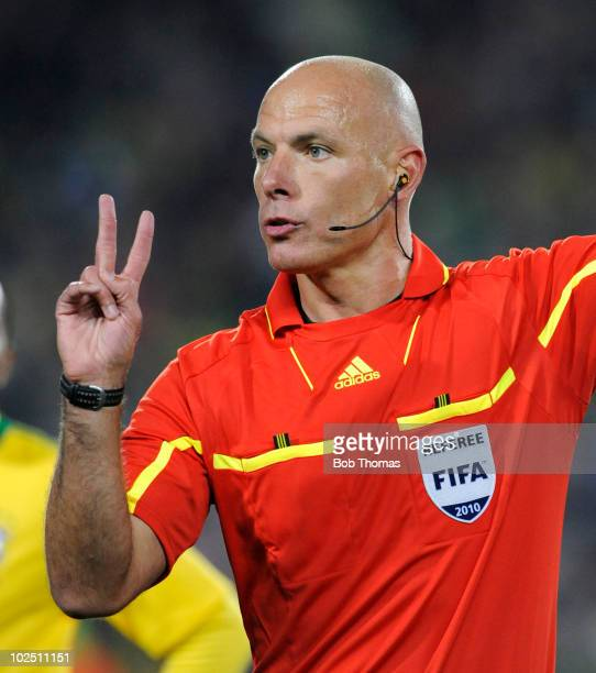 Referee Howard Webb of England during the 2010 FIFA World Cup South Africa Round of Sixteen match between Brazil and Chile at Ellis Park Stadium on...