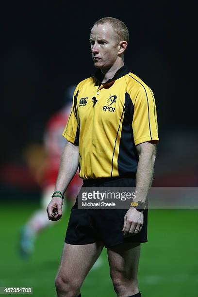 Referee Ian Davies of Wales during the European Rugby Challenge Cup Pool 5 match between Gloucester Rugby and Brive at Kingsholm Stadium on October...