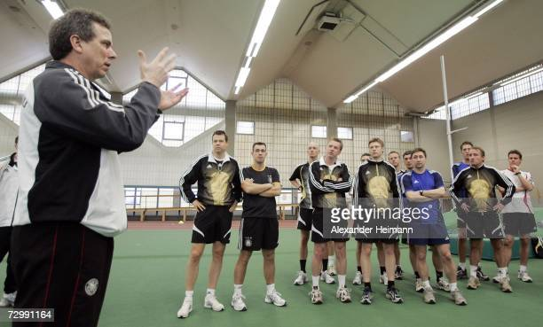 Referee instructer Dieter Antretter teaches the referees during their fitness programm during the Referee Seminar of the German Football Federation...