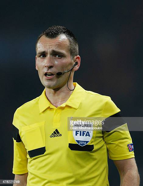 Referee Ivan Bebek looks on during the UEFA Champions League Round of 16 second leg match between Paris SaintGermain FC and Bayer Leverkusen at Parc...