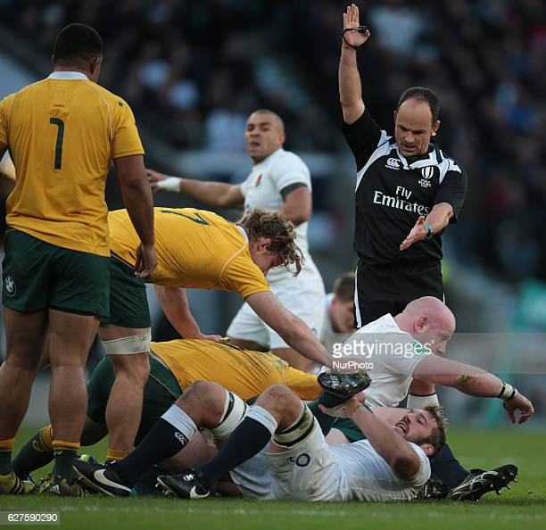Referee Jaco Peyper during Old Wealth Series match between England against Australia at Twickenham stadium London Britain 03 December 2016