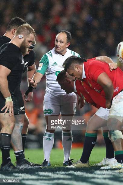 Referee Jaco Peyper during the Test match between the New Zealand All Blacks and the British Irish Lions at Eden Park on June 24 2017 in Auckland New...