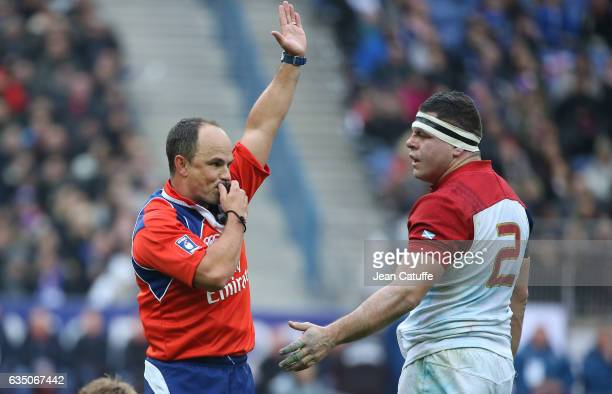 Referee Jaco Peyper of South Africa and Guilhem Guirado of France during the RBS 6 Nations tournament match between France and Scotland at Stade de...