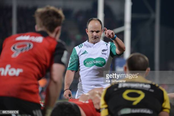 Referee Jaco Peyper reacting during the round 12 Super Rugby match between the Crusaders and the Hurricanes at AMI Stadium on May 13 2017 in...
