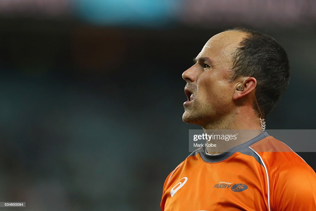 Referee Jaco Peyper watches on during the round 14 Super Rugby match between the Waratahs and the Chiefs at Allianz Stadium on May 27, 2016 in Sydney, Australia.