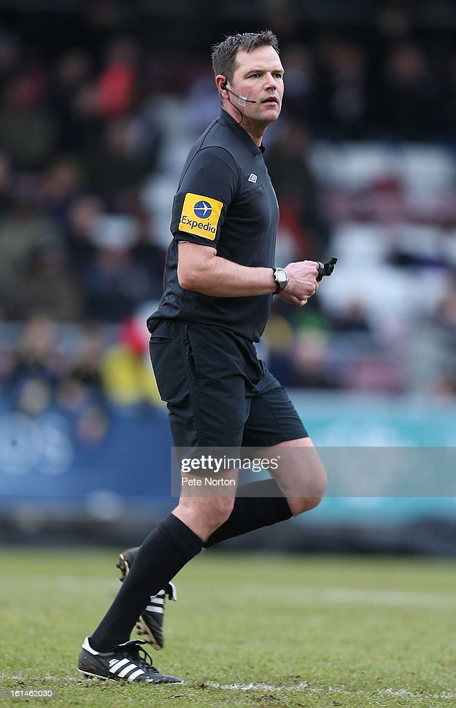 Referee James Linington in action during the npower League Two match between Northampton Town and Rochdale at Sixfields Stadium on February 9, 2013 in Northampton, England.