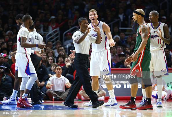 NBA referee James Williams signals a foul as Blake Griffin of the Los Angeles Clippers protests the call in the first half during the NBA game...