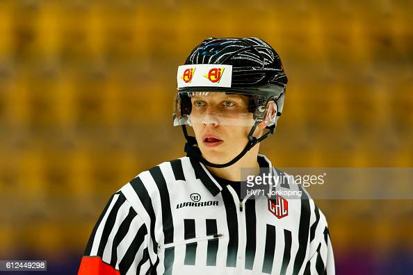 Referee Jan Hribik looks on during the Champions Hockey League Round of 32 match between HV71 Jonkoping and Lukko Rauma at Kinnarps Arena on October...