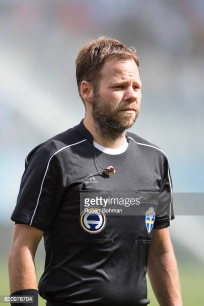 Referee JanErik Swärdh ahead of the Allsvenskan match between Malmo FF and Jonkopings Sodra IF at Swedbank Stadion on July 22 2017 in Malmo Sweden