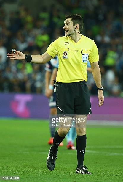 Referee Jarred Gillett gestures during the 2015 ALeague Grand Final match between the Melbourne Victory and Sydney FC at AAMI Park on May 17 2015 in...