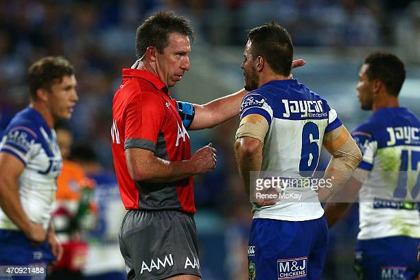 Referee Jarred Maxwell has words with Josh Reynolds of the Bulldogs during the round eight NRL match between the Canterbury Bulldogs and the Wests...