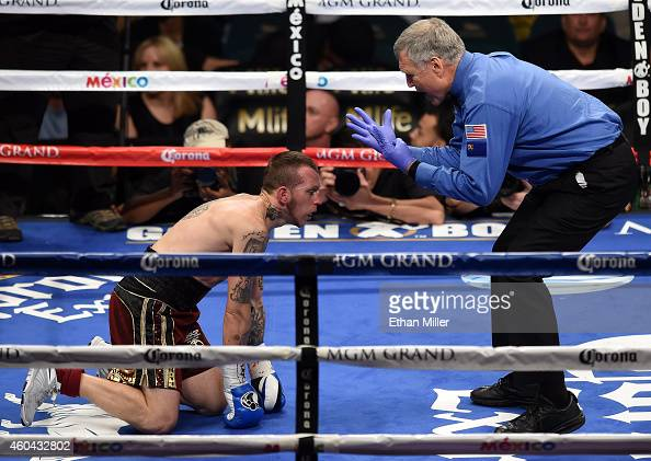 Referee Jay Nady counts as Lenny Bottai struggles to get up after being knocked down by Jermall Charlo during their junior middleweight fight at the...