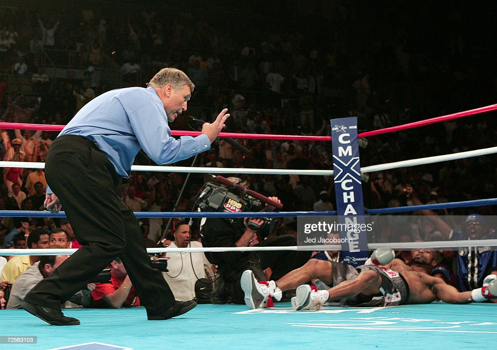 Referee Jay Nady counts out Roy Jones Jr after being knocked out in the second round by Antonio Tarver during the WBC Light Heavyweight Championship...