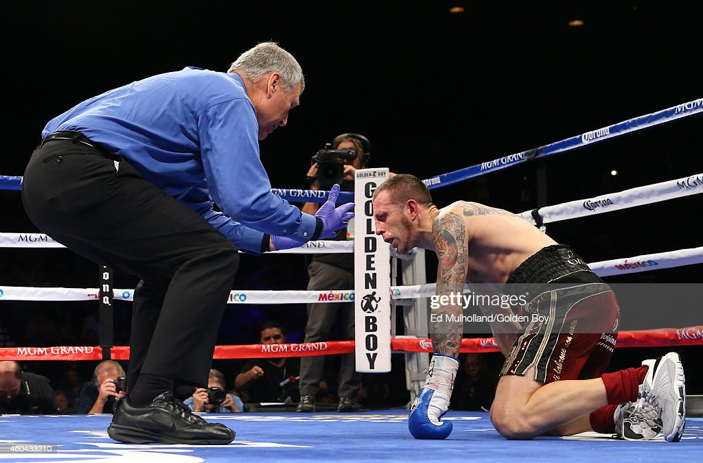 Referee Jay Nady counts over Lenny Bottai after he was knocked down by Jermall Charlo during their junior middleweight fight at the MGM Grand Garden...
