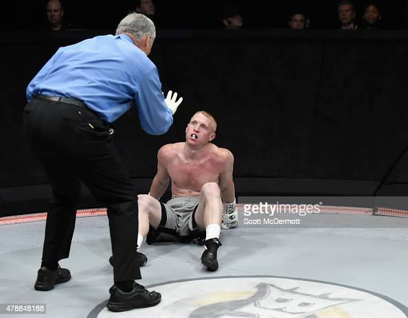 Referee Jay Nady stops the fight after boxer Shane Mosley Jr delivered a knockout punch to Jake Kelly during BKB 3 Big Knockout Boxing at the...