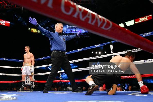 Referee Jay Nady wave off the fight after Steve Lovett knocked down Francisco Molina in the 2nd round of their 4 round light heavyweight fight at the...