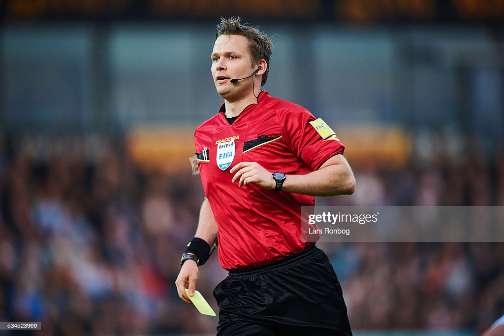 Referee Jens Grabski Maae in action during the Danish Alka Superliga match between Sonderjyske and Randers FC at Sydbank Park on May 26, 2016 in Haderslev, Denmark.
