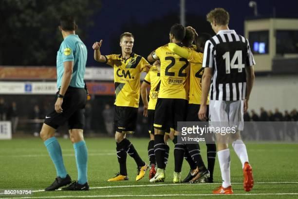 referee Jeroen Manschot Arno Verschueren of NAC Breda Giovanni Korte of NAC Breda Pablo Mari Villar of NAC Breda Karol Mets of NAC Breda Richelor...