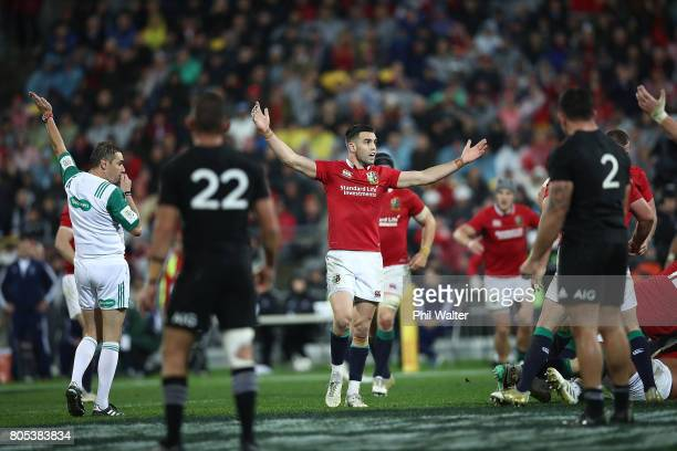 Referee Jerome Garces awards a penalty in the final minutes during the International Test match between the New Zealand All Blacks and the British...