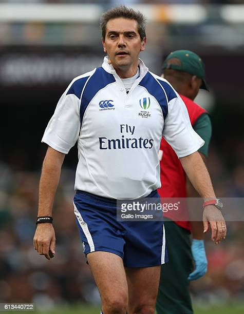 Referee Jerome Garces during the The Rugby Championship match between South Africa and New Zealand at Growthpoint Kings Park on October 08 2016 in...