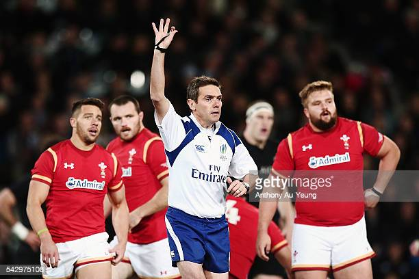 Referee Jerome Garces makes a call during the International Test match between the New Zealand All Blacks and Wales at Forsyth Barr Stadium on June...