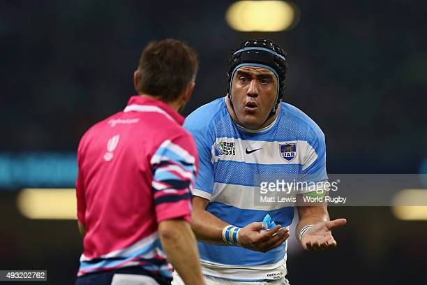 Referee Jerome Garces speaks with Marcos Ayerza of Argentina during the 2015 Rugby World Cup Quarter Final match between Ireland and Argentina at the...