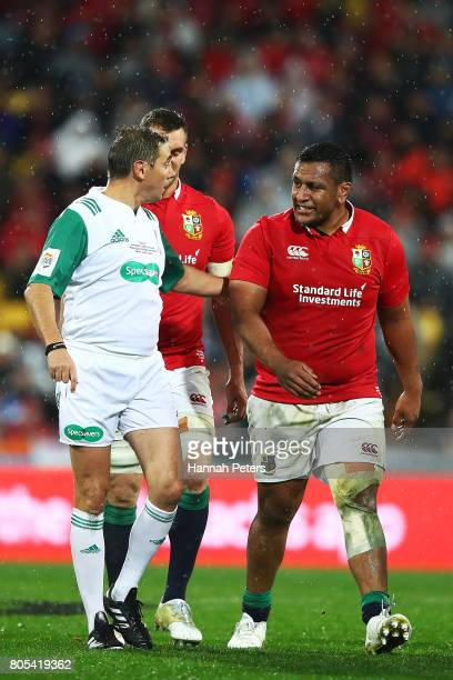 Referee Jerome Garces talks to Mako Vunipola of the Lions during the International Test match between the New Zealand All Blacks and the British...