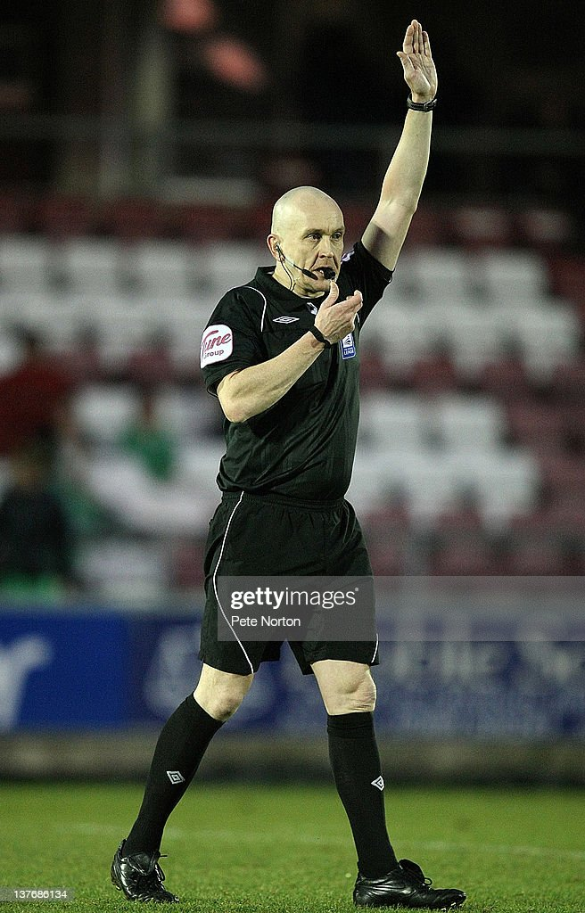 Referee Jock Waugh in action during the npower League Two match between Northampton Town and Barnet at Sixfields Stadium on January 21, 2012 in Northampton, England.