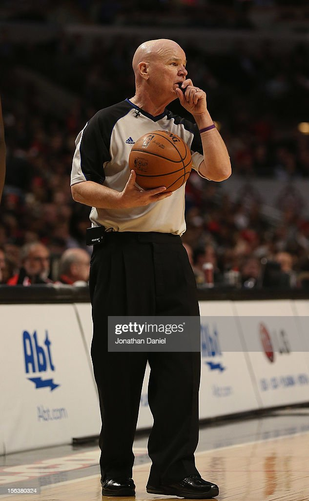 Referee Joe Crawford blows his whistle during a game between the Chicago Bulls and the Boston Celtics at the United Center on November 12, 2012 in Chicago, Illinois. The Celtics defeated the Bulls 101-95.