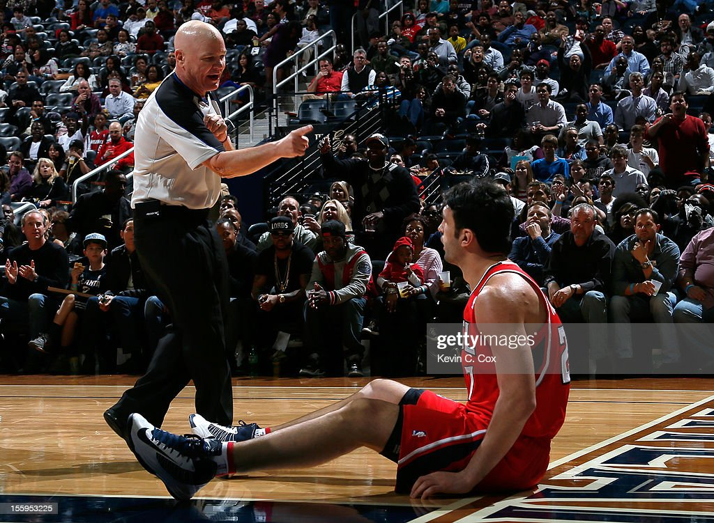 Referee Joe Crawford #17 calls a technical foul on Zaza Pachulia #27 of the Atlanta Hawks against the Miami Heat at Philips Arena on November 9, 2012 in Atlanta, Georgia.