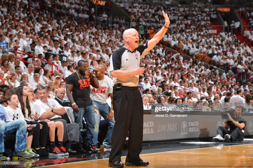 Referee Joe Crawford during the game between the San Antonio Spurs and Miami Heat in Game Two of the 2013 NBA Finals on June 9, 2013 at American Airlines Arena in Miami, Florida.