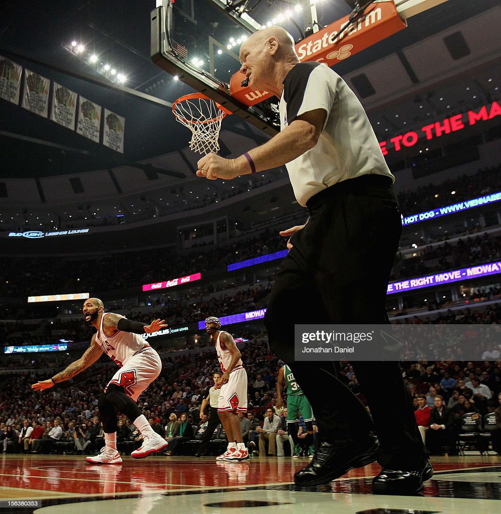Referee Joe Crawford follows the action during a game between the Chicago Bulls and the Boston Celtics at the United Center on November 12, 2012 in Chicago, Illinois. The Celtics defeated the Bulls 101-95.