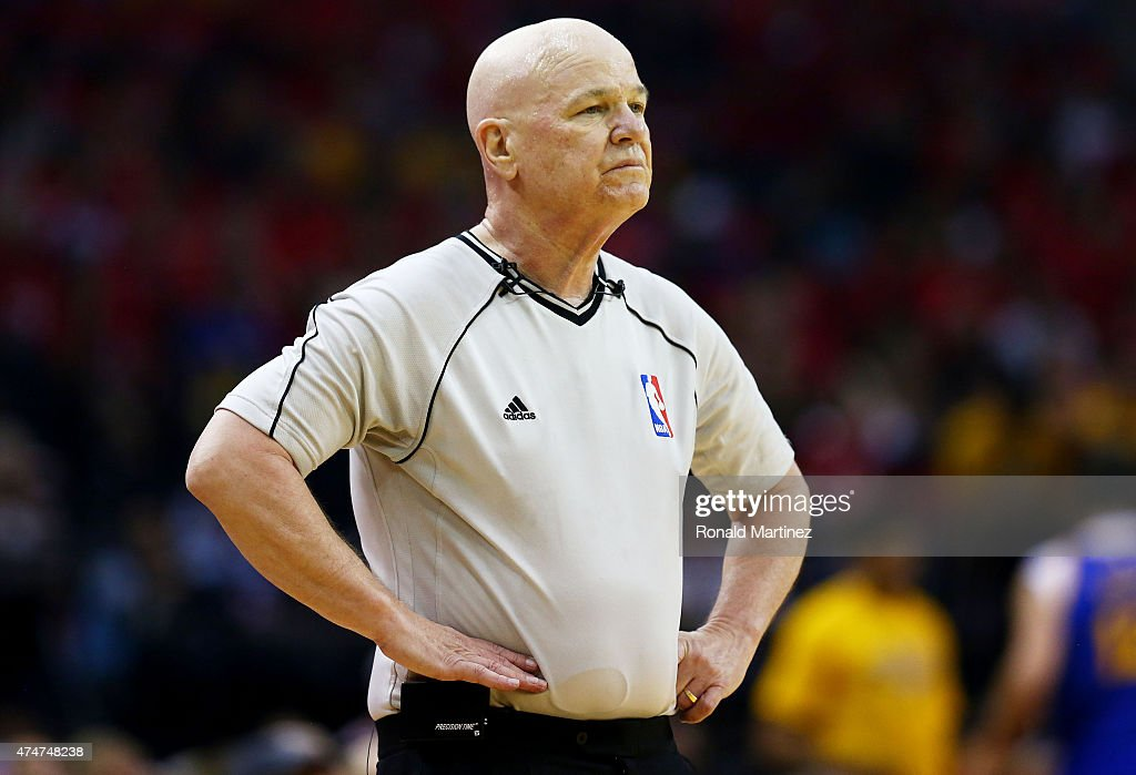 Referee Joe Crawford #17 in the first quarter during Game Four of the Western Conference Finals of the 2015 NBA Playoffs between the Golden State Warriors and the Houston Rockets at Toyota Center on May 25, 2015 in Houston, Texas.
