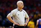 Referee Joe Crawford in the first quarter during Game Four of the Western Conference Finals of the 2015 NBA Playoffs between the Golden State...