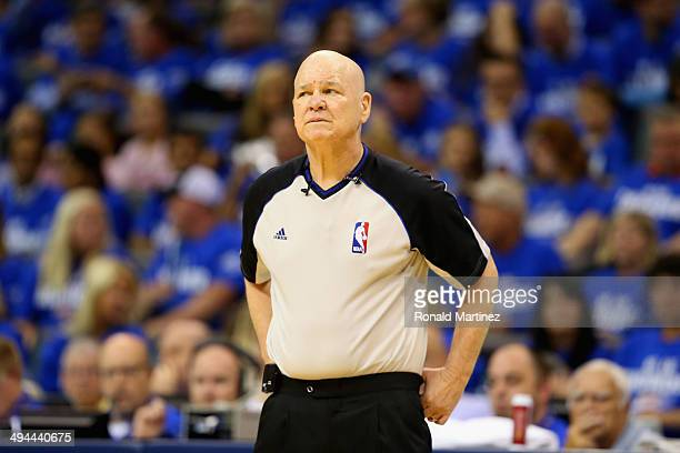 Referee Joe Crawford looks on during Game Four of the Western Conference Finals of the 2014 NBA Playoffs between the San Antonio Spurs and the...