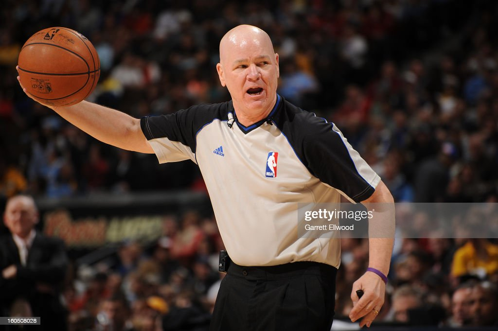 Referee Joe Crawford #17 looks on during the game between the New Orleans Hornets and the Denver Nuggets on February 1, 2013 at the Pepsi Center in Denver, Colorado.