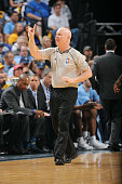 Referee Joe Crawford makes a call during a game between the Golden State Warriors and Memphis Grizzlies in Game Six of the Western Conference...