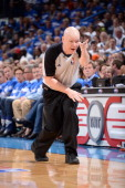Referee Joe Crawford makes a call in Game Four of the Western Conference Finals between the Oklahoma City Thunder and the San Antonio Spurs during...