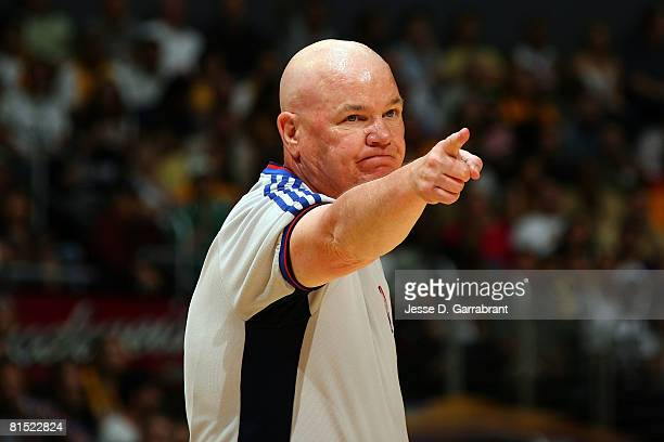 Referee Joe Crawford makes a call in Game Three of the 2008 NBA Finals between the Boston Celtics and the Los Angeles Lakers on June 10 2008 at...