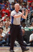 Referee Joe Crawford makes a call in game two of the Western Conference Quarterfinals between the Denver Nuggets and the Los Angeles Clippers during...