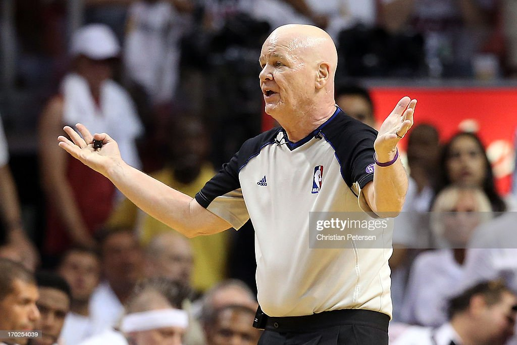 Referee Joe Crawford makes a call in the first half during Game Two of the 2013 NBA Finals at AmericanAirlines Arena on June 9, 2013 in Miami, Florida.
