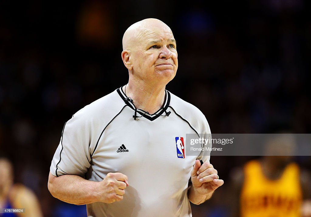 Referee Joe Crawford #17 officiates during Game Four of the 2015 NBA Finals between the Golden State Warriors and the Cleveland Cavaliers at Quicken Loans Arena on June 11, 2015 in Cleveland, Ohio.