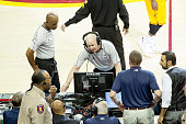 NBA referee Joe Crawford reviews a play from the replay center in Secaucus NJ during the game between the Cleveland Cavaliers and Chicago Bulls in...