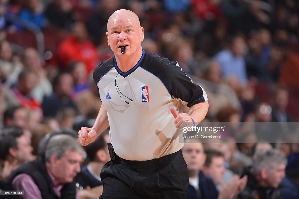 Referee Joe Crawford #17 runs down court during the game between the Orlando Magic and the Philadelphia 76ers at the Wells Fargo Center on February 4, 2013 in Philadelphia, Pennsylvania.