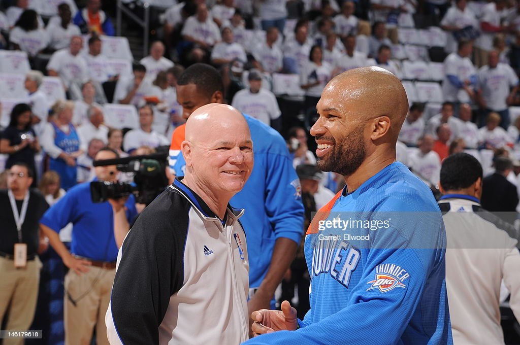 Referee Joe Crawford, shares a laugh with Derek Fisher #37 of the Oklahoma City Thunder prior to the start between the San Antonio Spurs and the Oklahoma City Thunder in Game Six of the Western Conference Finals during the 2012 NBA Playoffs on June 6, 2012 at the Chesapeake Energy Arena in Oklahoma City, Oklahoma.