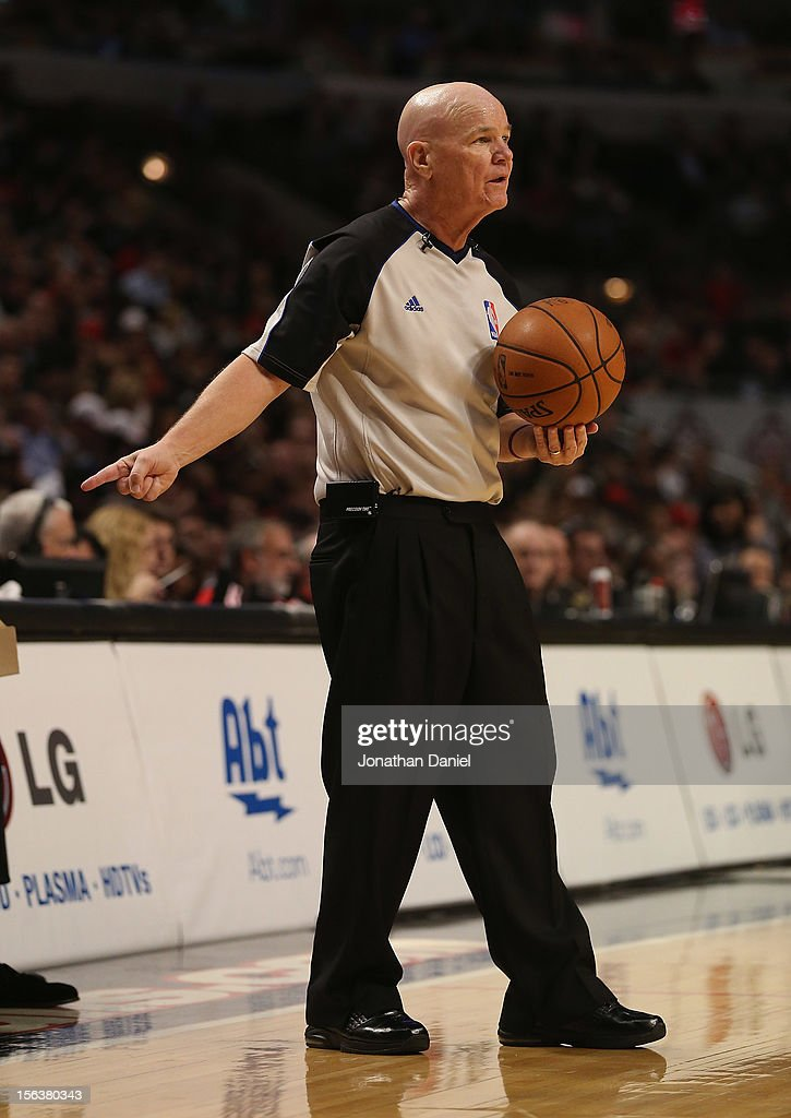 Referee Joe Crawford waits to hand the ball to a player during a game between the Chicago Bulls and the Boston Celtics at the United Center on November 12, 2012 in Chicago, Illinois. The Celtics defeated the Bulls 101-95.